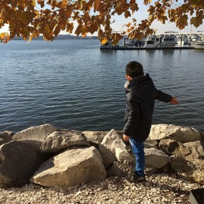 Skipping stones/shells with the kiddo. #love